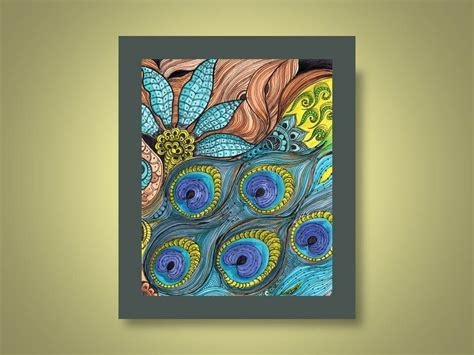 Hand Crafted Peacock Fine Art Print Turquoise Blue Lime