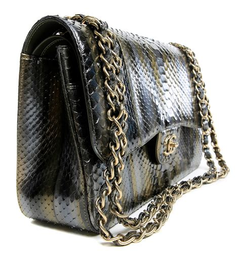 chanel jumbo classic metallic python flap at 1stdibs