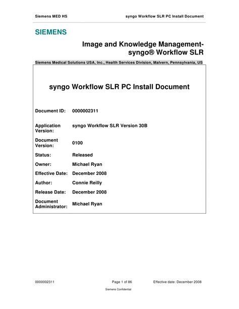 syngo workflow syngo workflow slr pc install doc 30b microsoft windows