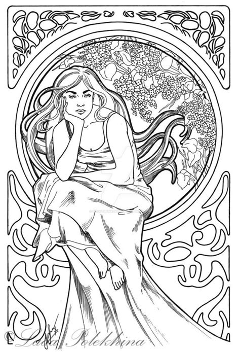 free coloring pages art nouveau art nouveau coloring pages free thekindproject