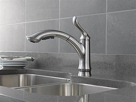 water efficient single handle kitchen faucet with pull delta faucet 4353 ar dst linden single handle water