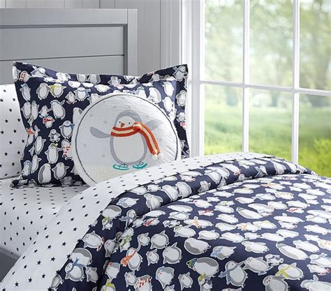 penguin comforters penguin flannel duvet cover pottery barn kids