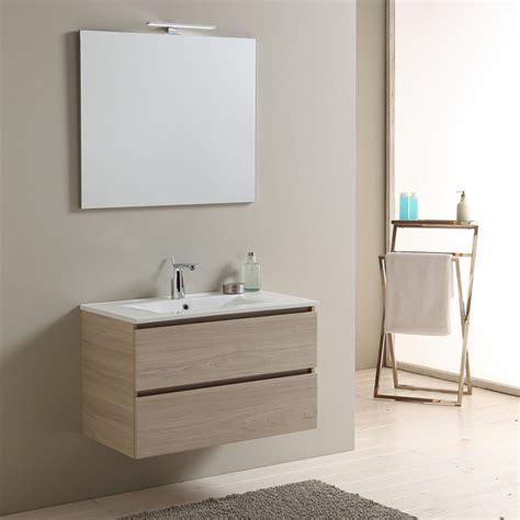 specchio con cassetti mobile 80 cm sospeso per bagno colore legno sospeso