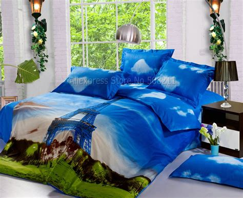 3d Bed Comforters 4pcs bed in a bag sets eiffel tower pattern sky blue with clouds duvet comforter