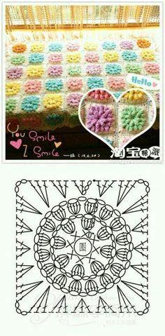 tutorial rajut popcorn crochet heart stitch diagram pattern or chart