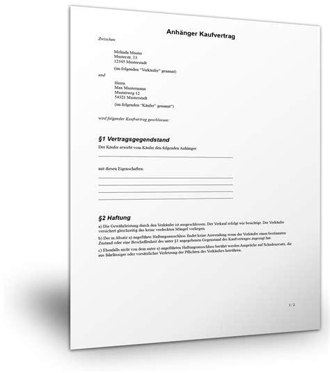 kostenlose vorlage anhaenger kaufvertrag