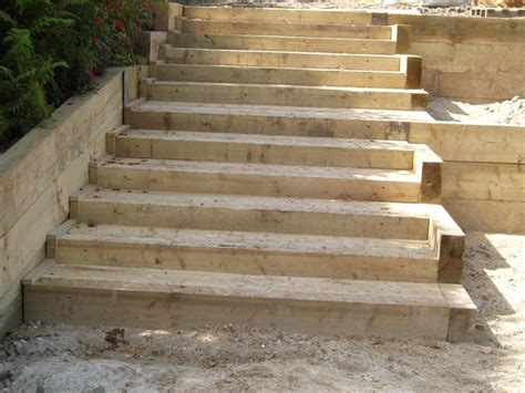 How To Build Garden Steps With Railway Sleepers by Brick Steps Railway Sleeper Steps Garden Steps Landscape