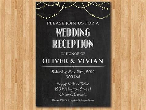 Wedding Reception Invitation Reception Invite Chalkboard Wedding Reception Invitation Templates