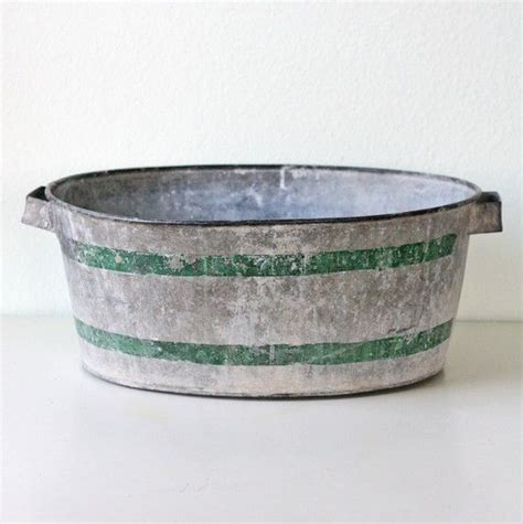 galvanized bathtubs vintage galvanized tub with green stripes