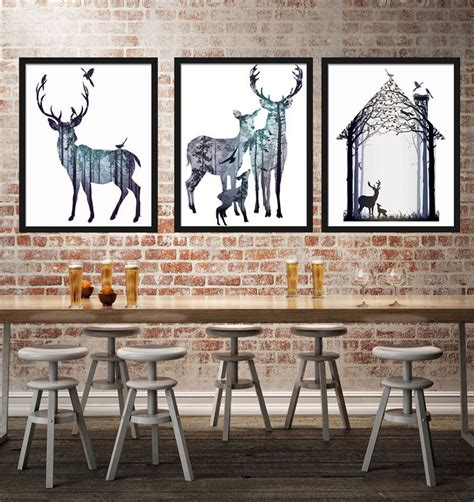 azqsd nordic vintage large art print poster deer head ins hot art print poster nordic vintage deer family animal