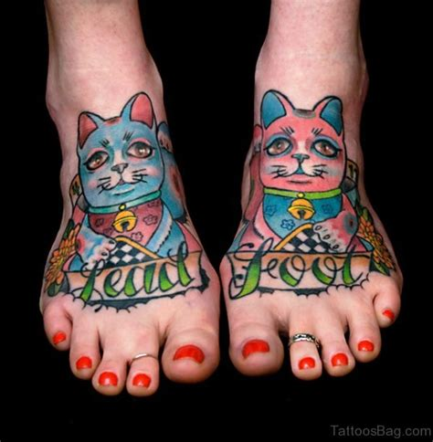 colorful foot tattoos 54 sweet cat tattoos on foot