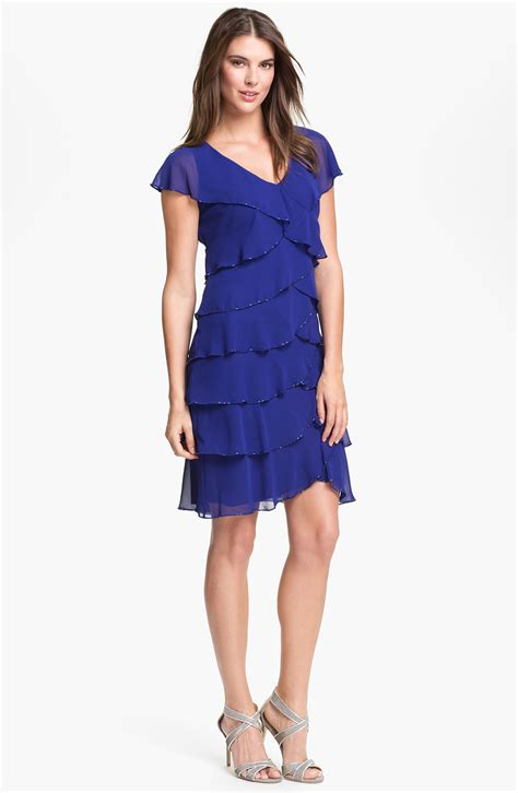 Layered Dress lyst patra embellished layered chiffon dress in blue
