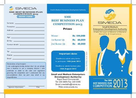 sme business plan template brochure sme best business plan competition 2013