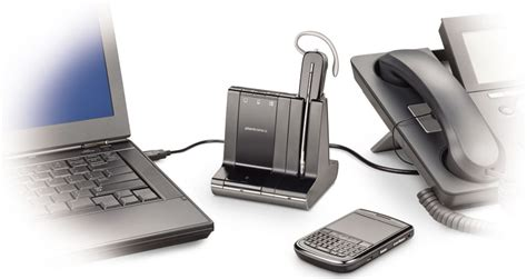 Desk Phone Accessories Plantronics Savi 740 Wireless Headset System For Unified Communication Cell Phones