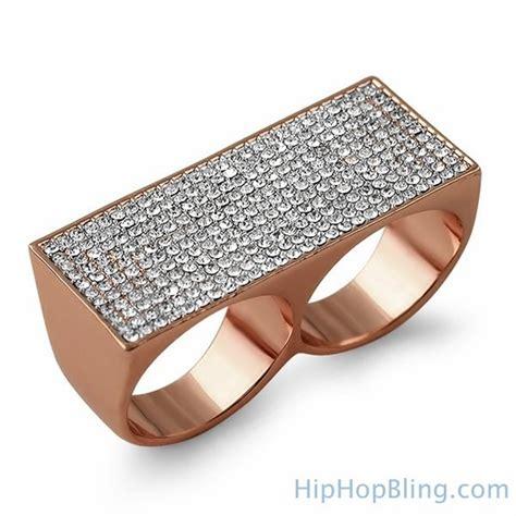 Bling Bling Rosegold gold bling bling 2 finger ring 2 finger rings