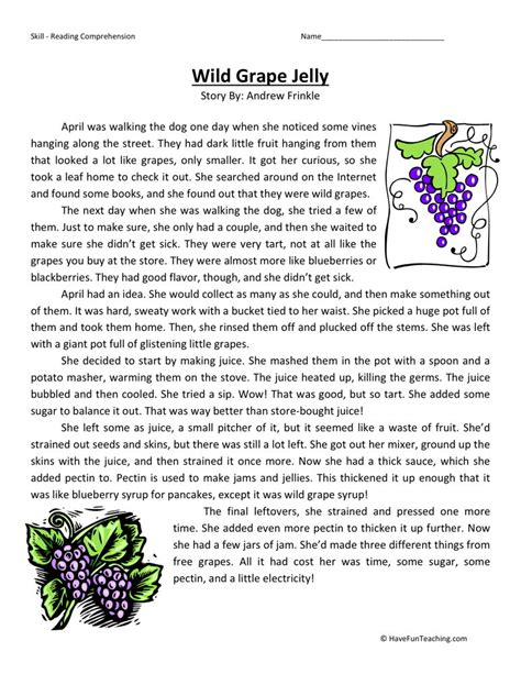 Reading Worksheets by Reading Comprehension Worksheet Grape Jelly
