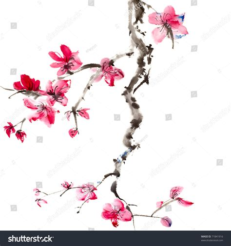 chinese painting flowers plum blossom on stock photo