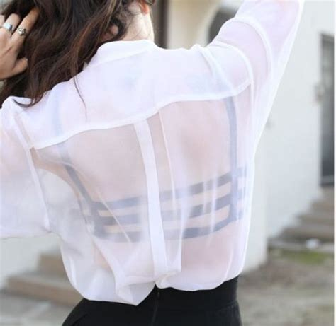 Black Bra Sheer White Blouse by Picture Of White Sheer Shirt With Original Black Bra