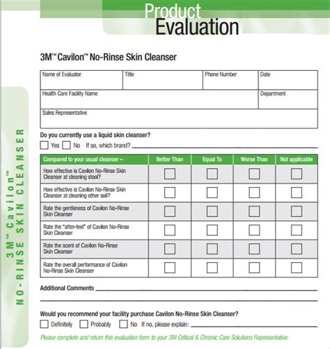 product evaluation 9 free sles exles format