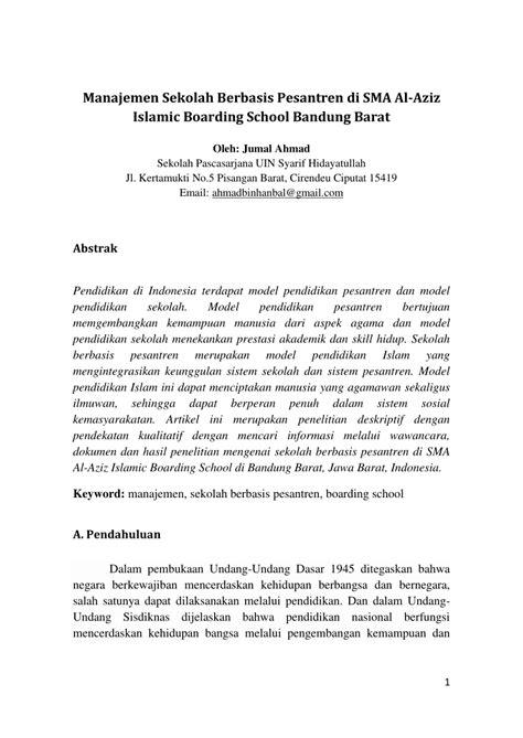 (PDF) Manajemen Sekolah Berbasis Pesantren di SMA Al-Aziz