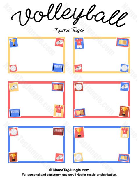 free printable volleyball tags printable volleyball name tags