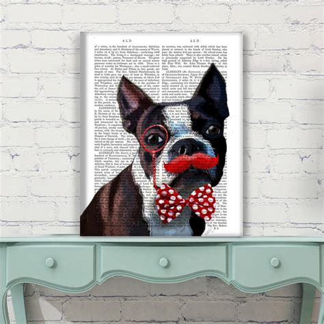 Boston Terrier Decor by Boston Terrier Antiquarian Book Print By Fabfunky Home