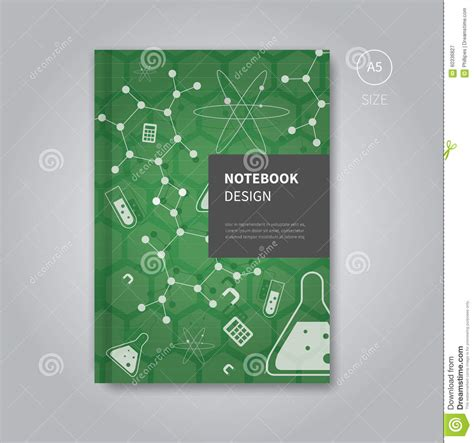 notebook design template notebook design in mathematics template style stock vector