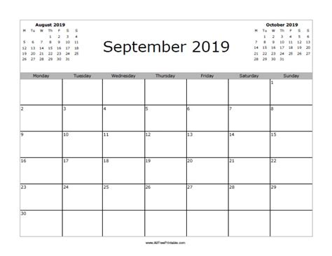 Calendar 2019 September September 2019 Calendar Free Printable