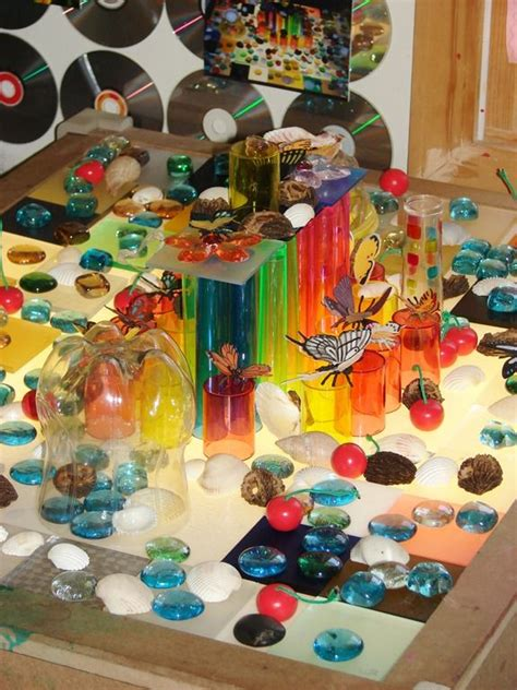 reggio emilia light table what an amazing collection of materials for the light