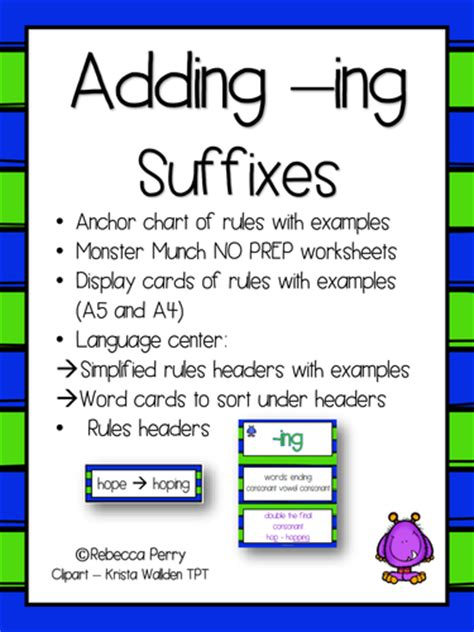 rule adding suffixes ed and ing changes the tense of a verb suffixes ing english literacy activities no prep