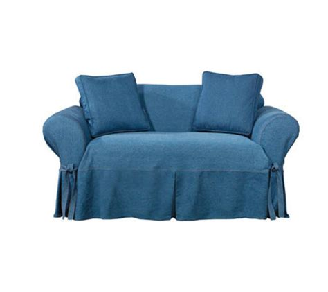 denim sofa slipcover sure fit indigo denim sofa slipcover qvc com