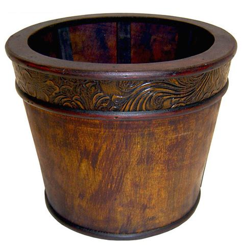 indoor decorative planters cheungs carved wooden planter 8 quot indoor pots and planters houzz