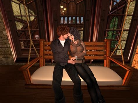 swing show second life marketplace rustic cuddle porch swing 3 w