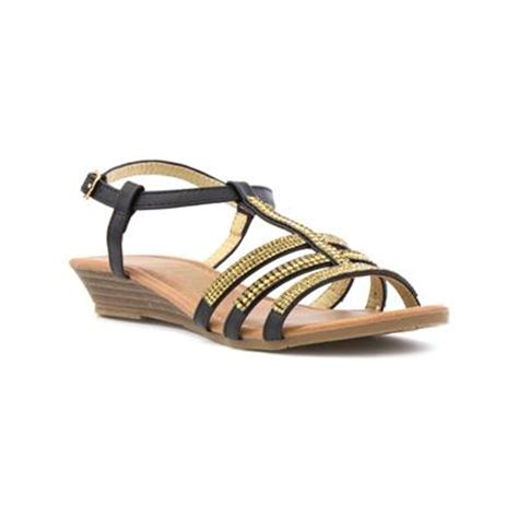 lilley black wedge sandal with gem detail 29849