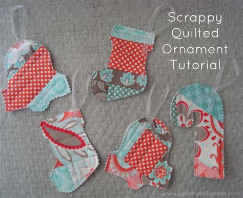 Easy Patchwork Projects - quilt as you go scrappy ornaments tutorial