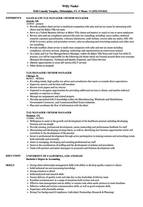 Tax Manager Sle Resume by Tax Manager Senior Manager Resume Sles Velvet