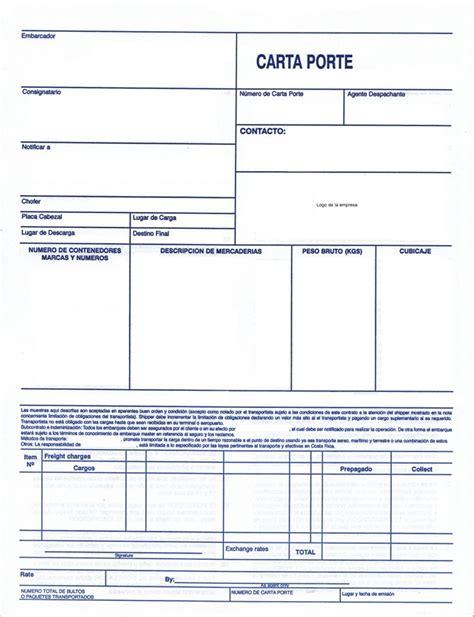 ejemplo de carta porte definici 211 n de los procesos para el traslado de mercanc 205 a