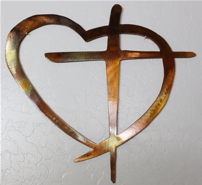 bold set of 3 decorative crosses copper country red brown heart cross metal wall art decor mini