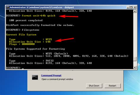 diskpart format block size how to make all windows drives with 64 k instead of 4k