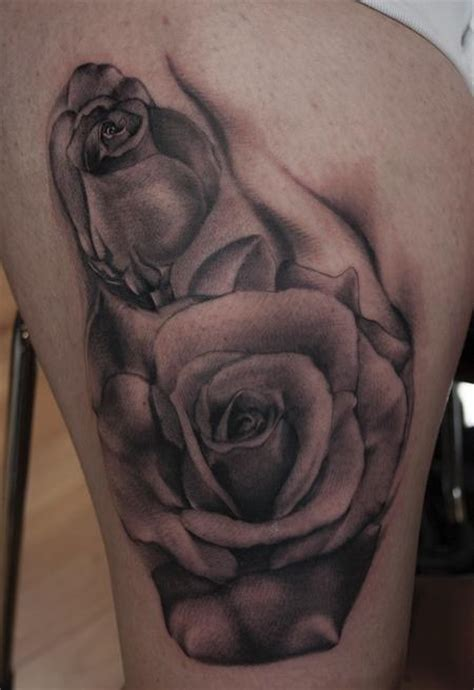 black rose tattoo on leg junkies studio tattoos part leg sleeve