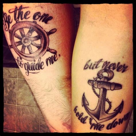 couple anchor tattoos sailor compass and anchor tattoos
