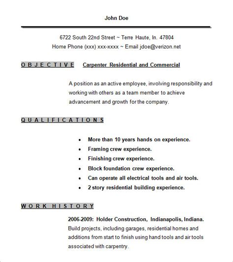Sample Resume Objectives For Any Job by Carpenter Resume Template 9 Free Samples Examples