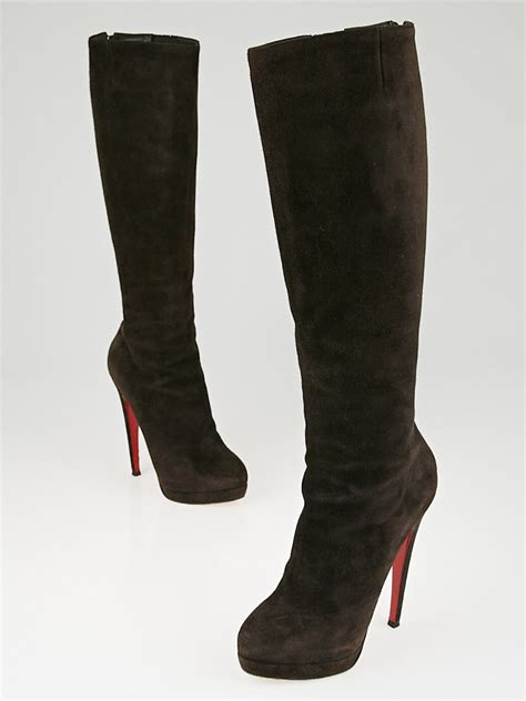 christian louboutin brown suede alti botte 160 knee high