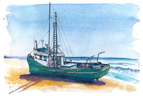 how to draw a beached boat fishing boat runs aground on sonoma coast the artist on