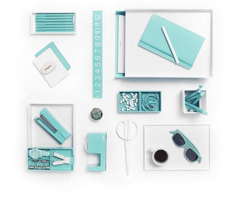 White With Pops Of Aqua Is Day At The Beach Poppin Office Desk Stuff
