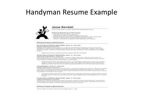 Handyman Description For Resume how to handyman resume sles for handyman
