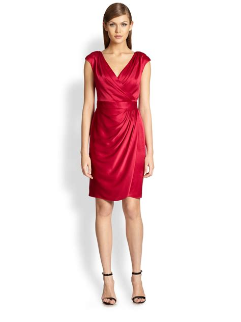 Dress Satin lyst st faux wrap satin dress in