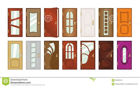 different types of doors set of different types of doors stock illustration