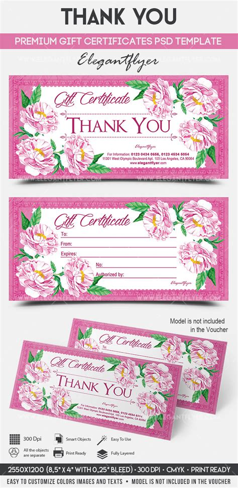 Thank You Premium Gift Certificate Psd Template By Elegantflyer Thank You Flyer Template Free