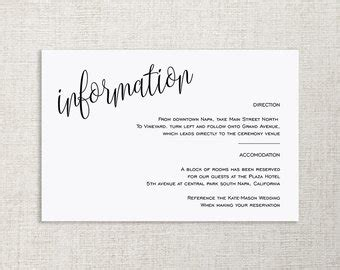 wedding information card template wedding details card etsy